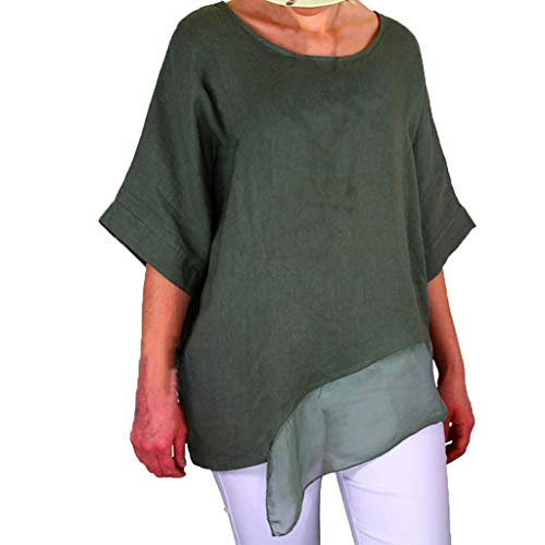 Women Round Neck Short Sleeve Solid Color Layered Chiffon Patchwork Tee Shirt
