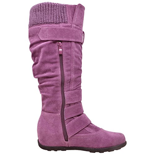 Calf Suede Knee Rubber Y Buckles Sole Boots Ruched Mid High 233 Women's Calf Lilac WB GY Knitted Generation vRw8qUq
