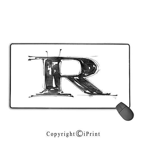 (Extended gaming mouse pad with stitched edges,Letter R,Sketch Style R World with Grunge Gothic Tones Hand Drawn Paintbrush Illustration,Black White,Suitable for laptops, computers, PCs, keyboards,9.8