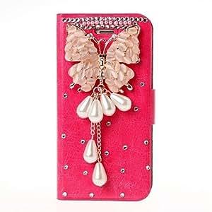 Conseguir DIY de Butteryfly Tassel 3D de cristal con diamantes de imitación del cuero del patrón para el iPhone 5/5S