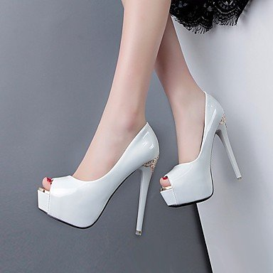 pwne Tacones mujer Primavera Club zapatos casual PU Violeta Blanco Negro Blanco US4-4.5 / UE34 / REINO UNIDO2-2.5 / CN33