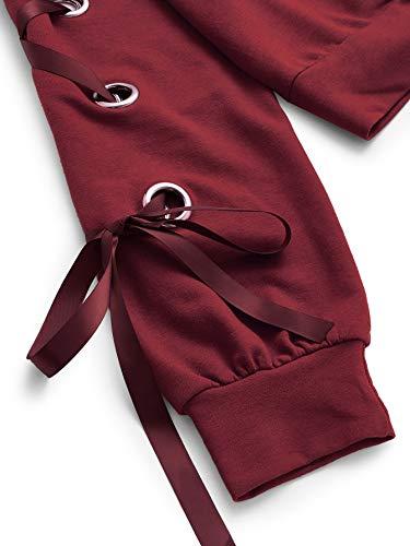 SweatyRocks Women's Casual Lace Up Long Sleeve Pullover Crop Top Sweatshirt
