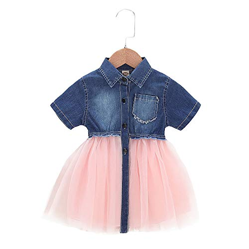 Toddler Infant Baby Girl Dress Denim Jeans Top Pink Tulle Tutu Dress Skirt Outfits (A-Short Jeans, 12-18 Month)