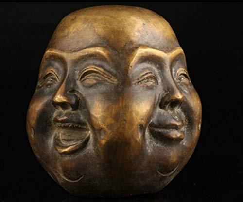 Athena Bronze Pendant - ANARUTO Statue Old Collectable Bronze Casting Joys Sorrows Spiritual Four face Buddha Head Bronze