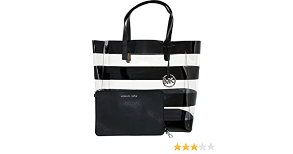 a56935d29456 Michael Kors Eliza Striped Large Tote in Clear Black  Handbags  Amazon.com