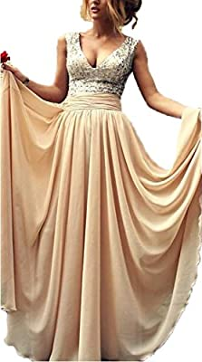 Babyonlinedress Babyonline® Sexy Lady's Deep V-Neck Sequins Top Chiffon Long Prom Dress Ball Gown