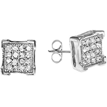 0.06 Carat (ctw) Sterling Silver White Diamond V Prong Square Mens Hip Hop Iced Stud Earrings