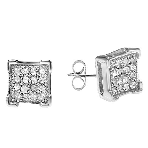 0.06 Carat (ctw) Sterling Silver White Diamond V Prong Square Mens Hip Hop Iced Stud (0.06 Ct White Diamond)