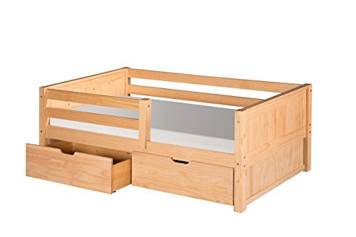 (Camaflexi Panel Style Solid Wood Day Bed with Drawers and Front Rail Guard, Twin, Natural)