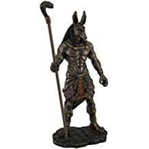 Veronese Resin Statues Anubis Holding Cobra Head Scepter Statue 4.75 X 10.5 X 3.25 Inches Brown