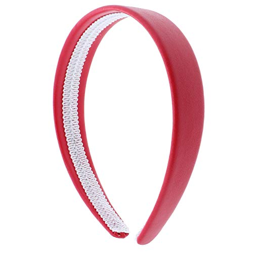 Bright Red 1 Inch Wide Leather Like Headband Solid Hair band for Women and Girls