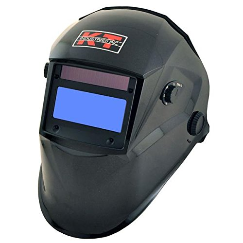 Metallic Black Entry Level Auto Darkening Helmet, Includes a Built - In Magnifying Lens Holder As Well As a Removable 2.0 Magnifying Lens, Four Arc Sensors, Adjust Sensitivity, Battery and (Adjust Lens)