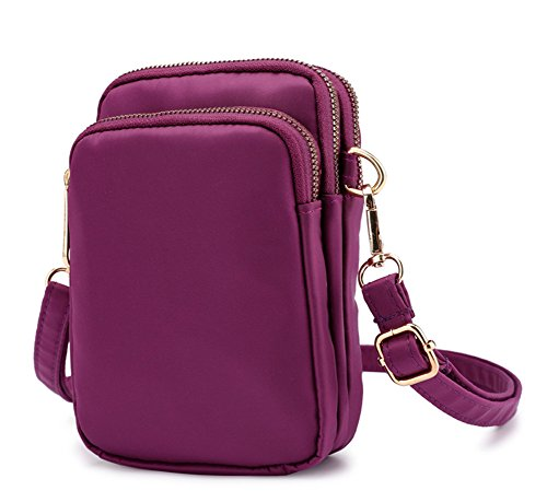 Bag Phone Purple Crossbody Purse Belt Collsants Pouch Clip Cell Smartphone Wallet Nylon Mini xY5Uqg1wq