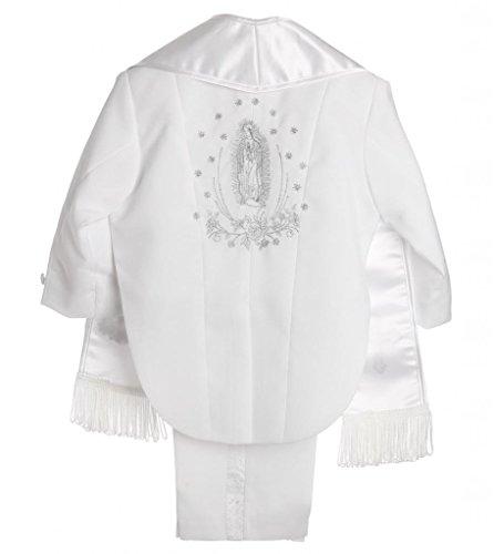 Boy White Tail Paisley Design Christening Silver Virgin Embroidered Tuxedo size 3