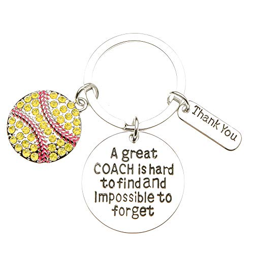 Sportybella Softball Coach Keychain, Softball Gift, Softball Jewelry, Perfect Softball Coach Gifts -