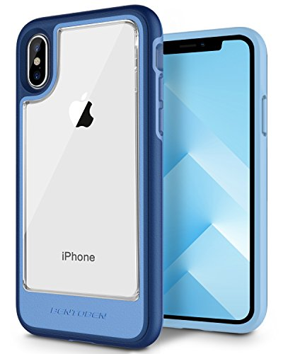 iPhone X Case, iPhone 10 Case, BENTOBEN Slim Shockproof Hybrid Hard PC Clear Back Flexible TPU Bumper [Support Wireless Charging] [Anti-Scratch] Protective Case for iPhone X / iPhone 10, Navy - Hard Hybrid Case