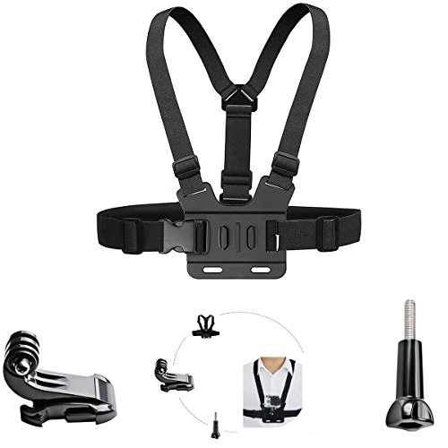 Harness Action (Adjustable Chest Mount Harness Compatible with Gopro Hero6/5 Black Hero 4 Silver AKASO EK7000 Vtin 4k APEMAN ODRVM 12 MP Action Camera Body Chest Strap Mount Belt)