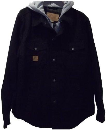 Chaqueta de lona lavada con babero y capucha, negro, grande