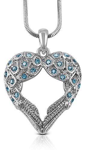 - Small Heart Shaped Guardian Angel Wings Crystal Pendant and Chain - Inspirational Religious Jewelry Gifts for Women, Teens, Girls (Sky Blue) ()