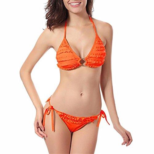 Swimwear Pieghettato Tie Hansee Beachwear Bikini Push Orange Donne Swimsuit Set up Side Solido pqxXq4