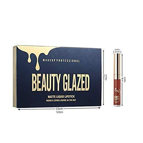 Beauty Glazed 6pcs Lipstick Set Matte Velvety Liquid Lipstick Matte Liquid Lipgloss Waterproof Lip Gloss