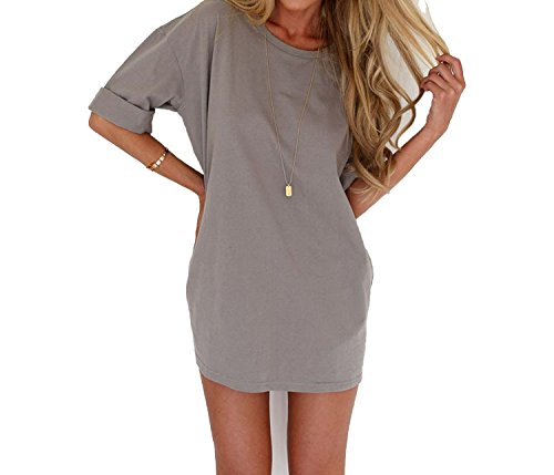 Sky-Pegasus 2018 Women Solid Color Straight Dress Loose O-Neck Half Sleeve Beach Party Dress Mini Dress Femme at Amazon Womens Clothing store: