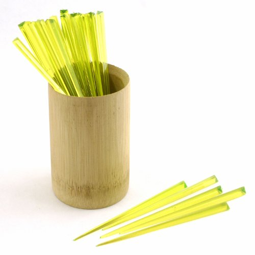 BambooMN Triangular Prism Plastic Pick 4.5'' (12cm) - 300pcs - Lime Green by BambooMN