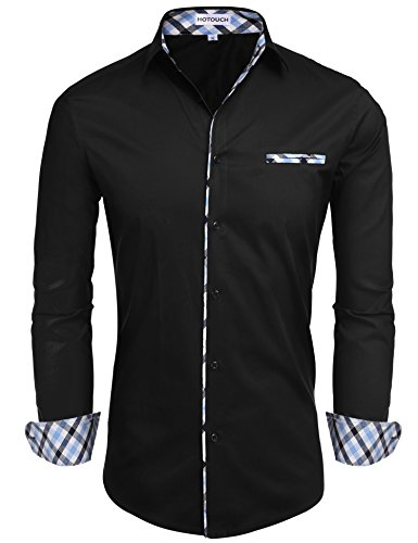 French Designer Dresses - Hotouch Mens Slim Fit Dress Shirt Long Sleeve Casual Button Down Shirt Black S