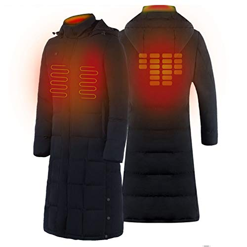 redder Kempgear Heated Jacket Woman Black Knee Length Puffer Coat Warm-Keeping-No Battery