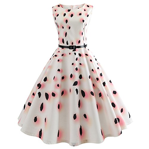 iLUGU O-Neck Sleeveless Knee-Length Dress For Women Cherry Blossom Petals Print A-Line Fall Dresses For Women