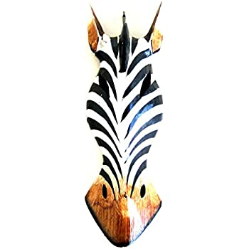 Oma Giraffe Mask African Safari Decor ZEBRA MASK Wall Hanging Hand Painted, OMA FEDERAL (TM) BRAND