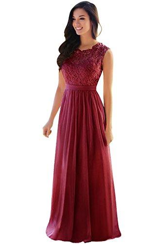 Kleider Cocktailkleid Rot Abendkleid Damen Festliche Elegant Chiffon Brautjungfer Hochzeit Langes Faltenrock Wein Kleid Babyonline® Oqt1wnFYq