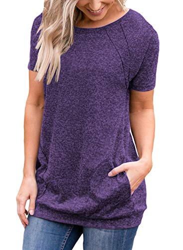 (Muhadrs Womens Short Sleeve Casual Round Neck Loose Tunic Top Blouse T-Shirt Purple L)