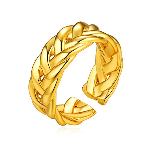 Rope Eternity Braid Bali Thumb Ring Weave Rope Chain Ring Celtic Knot Ring Simple Criss Cross Infinity Gold Wedding Band for Women