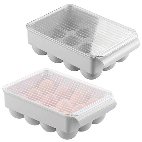 mDesign Stackable Plastic Covered Egg Tray Holder, Storage Container and Organizer for Refrigerator, Carrier Bin with Lid and Handle - Holds 12 Eggs - 2 Pack - Gray/Clear