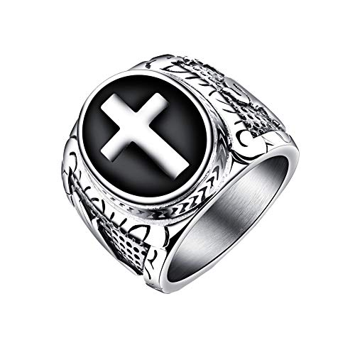 PAMTIER Men's Stainless Steel Black Enamel Vintage Christian Cross Prayer Ring Silver Size 9 Black Enamel Cross Ring