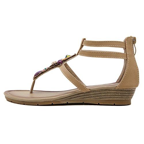 Dearwen Womens Bohemisk Glitter Sommar Platta Sandaler T Rem Flip Flops Skor Aprikos