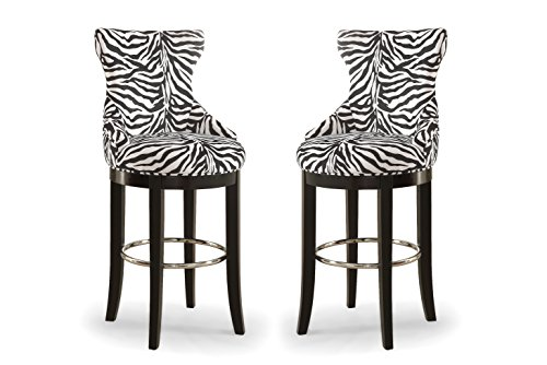 Wholesale Interiors Peace Zebra-Print Patterned Fabric Upholstered Bar Stool with Metal Footrest, White/Dark -