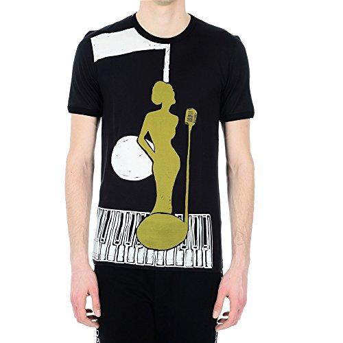 Dolce E Gabbana Herren G8GX8TFP73OHN634 Weiss/Schwarz Baumwolle T-Shirt
