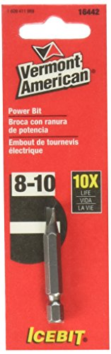 Vermont American 16442 Type Slotted Size 8 through 10 with 1-15/16-Inch Length Icebit Power Bit