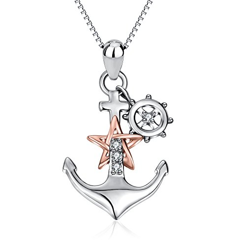YFN Anchor Rudder Pendant Necklace 925 Sterling Silver Two-Tone Ship Jewelry for Women ()