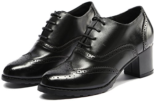 Wingtip Womens Oxfords up Brogues Black Pump Oxford Leather Shoes Lace Perforated lite Vintage U ZH5wxqXSH