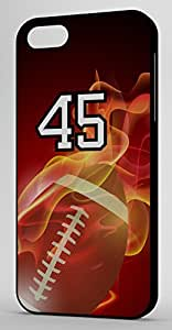 Flaming Football Sports Fan Player Number 45 Black Rubber Decorative iphone 5c Case
