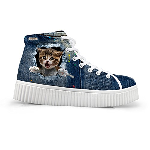 HUGS IDEA Vintage Tabby Cat High Top Shoes For Women Sport Snekers...