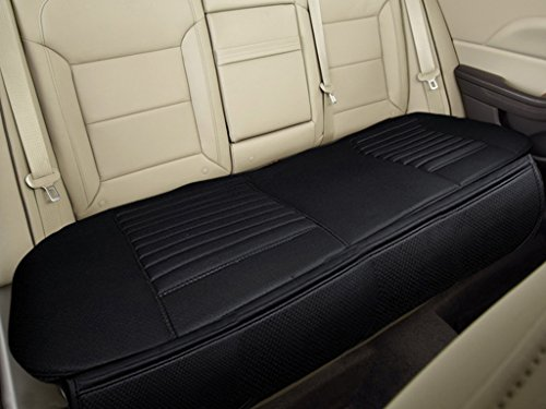 "Nonslip Rear Car Seat Cover Breathable Cushion Pad Mat for Vehicle Supplies with PU Leather(Black- Back Row 58.3"" x 18.9"") (Leather Seat)"