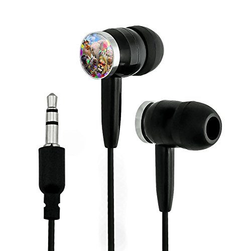 Graphics and More Africa Animal Beach Party Selfie Lion Giraffe Zebra Wildebeest Rhino Novelty In-Ear Earbud Headphones - Black (In Heads Black Ear)