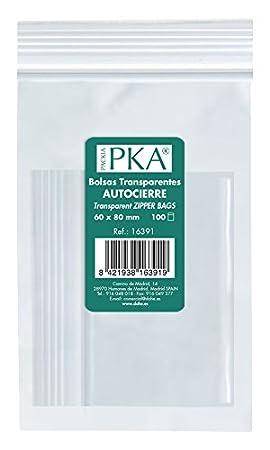 PKA 16393 - Pack de 100 bolsas de plástico con autocierre, 100x150 mm