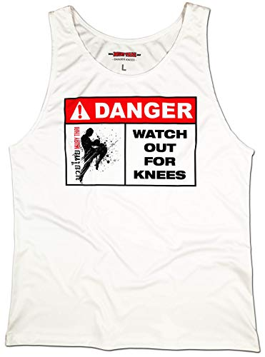 (Muay Thai Tank Top Men's Danger Knees Martial Arts Singlet Vest Sleeveless Shirt (4XL) White)