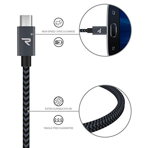 RAMPOW Braided Micro-USB Cable [2-Pack 3.3ft] Android Charger Cable / Samsung Fast Charging cable for Galaxy S7/S6/, Sony, Motorola and more - Space Gray