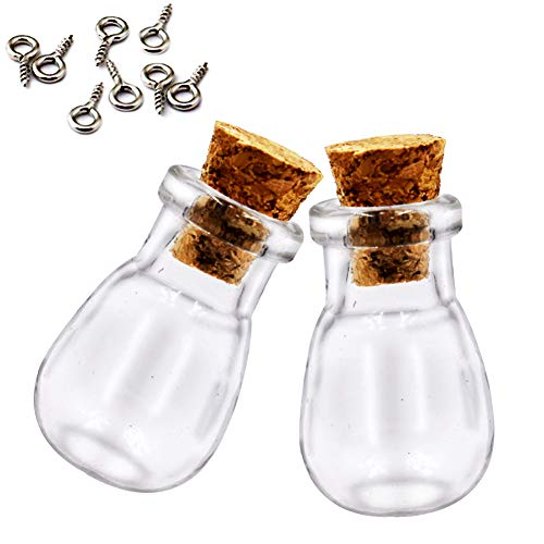 (LEFV Mini Cork Top Glass Bottle Vial Charm Kit 1 Inch - 25pcs Clear Wishing Bottles with Corks and Eye Screws - Miniature Empty Sample Jars Message Bottle Small Tiny Size (25pcs-Waterdrop))